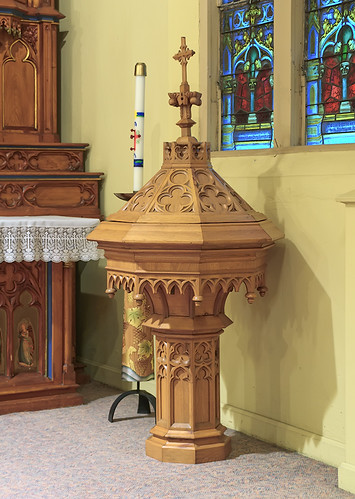 Saint Cecilia Roman Catholic Church, in Bartelso, Illinois, USA - baptismal font