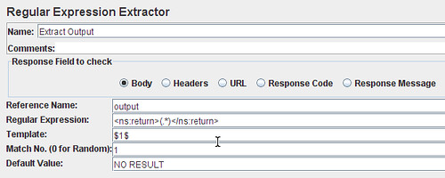 The Regular Expression Extractor Configuration.