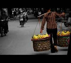 Day 7 ~  Ha Noi, my love (bichxa) Tags: woman color heritage asia traffic scooter banana vietnam motorbike hanoi homesick cultural streetvendor selective earthasia