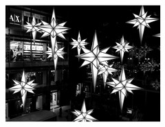 Time Warner Stars (backfirecptn) Tags: christmas new york city nyc newyorkcity light blackandwhite bw white black stars columbuscircle timewarner theperfectphotographer goldstaraward