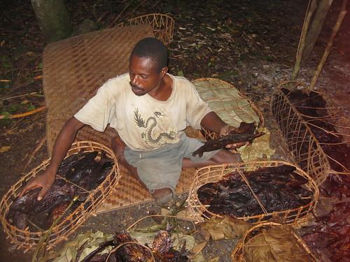 fisherman sorting his dried fish