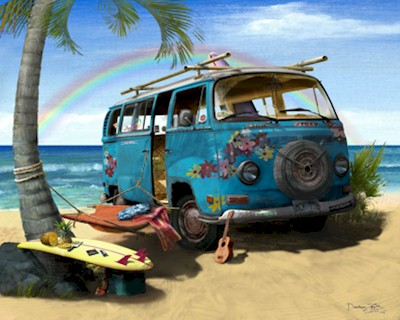 VW hippie bus Hawaiian beach artwork print