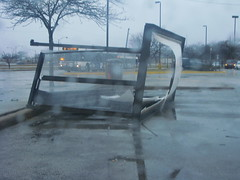 Destroyed Bus Shelter (ctabusphotographer) Tags: bus cta shelter shattered destroyed wrecked