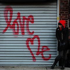 love me two times, baby. (Vitaliy P.) Tags: red love me hat sign project square 50mm lucy nikon nycunguessed explore 365 month10 project365 explored d80 gwnyc guesswherenycungussed vitaliyp gettylicensed
