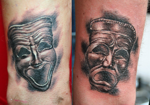 tragedy and comedy theatre masks tattoo by Mirek vel Stotker