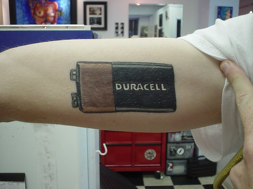 Duracell 9V Size Battery Tattoo