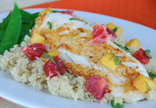 tilapia blood orange salsa orange mat