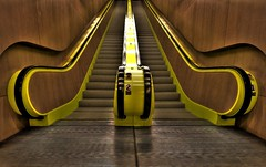 Yellow Escalator at the Seattle Public Library (Andrew E. Larsen) Tags: up yellow vanishingpoint limegreen escalator best seattlepubliclibrary digitalrebelxt papalars a3b andrewelarsen