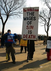 The Wages of Sin (Karol A Olson) Tags: cold history washingtondc crowd joy pride obama inauguration intolerance streetpreachers hellfireandbrimstone portopotties 12009 inauguration2009 annoyingmegaphone