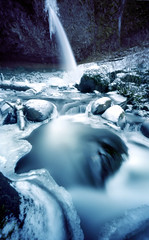 Ponytail Falls, 240 seconds (Zeb Andrews) Tags: blue winter cold film ice nature oregon landscape outdoors frozen pinhole waterfalls pacificnorthwest icy columbiarivergorge zeroimage pinscape zero69 ponytailfalls bluemooncamera zebandrews upperhorsetailfalls nationalscenicareas zebandrewsphotography
