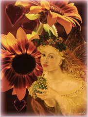 )))she brings love((( (xandram) Tags: color yellow photoshop hearts sunflowers faerie passionphotography altrafotographia artistictreasurechest