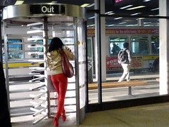 Out (yooperann) Tags: red chicago gold illinois high interesting pants very authority passengers jacket transit slacks heels tight forestpark stylish chicagoist