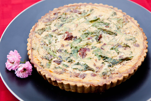 Bacon, rocket arugula and ricotta quiche