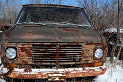 McLean's_0124 (janetliz) Tags: old winter cars overgrown rusty scrapyard van tpmg mcleans