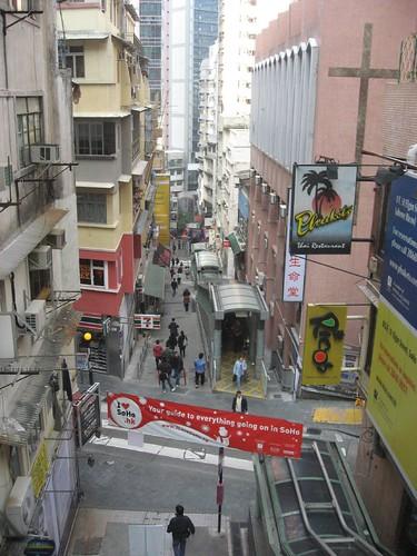 View downhill of escalators