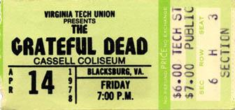 Grateful Dead ticket for Cassell Coliseum 4/14/78 Virginia Tech from www.psilo.com