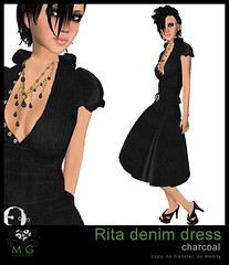 [MG fashion] Rita denim dress (charcoal)