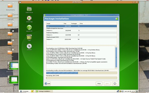 L'installation des traductions et de quelques mises à jour de l'OpenSuSE 11.0