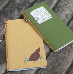 Two chopstick books (MyHandboundBooks) Tags: green yellow bookbinding notebooks myhandboundbooks chopsticknotebook