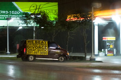 Divorce - Cheap and Quick (leadingmodels) Tags: road trees red brown green rain station sign yellow price lights we billboard gas tires divorce beat van quick cheap taillights everybodys