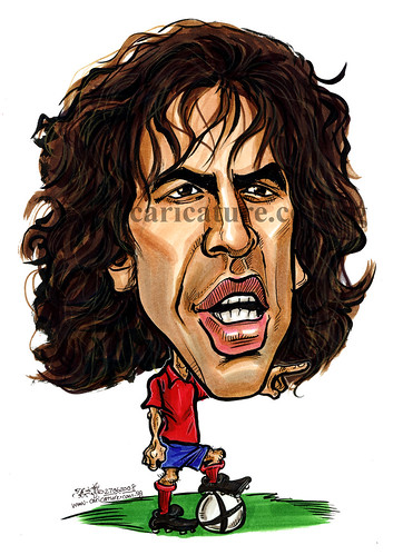 Caricature of Carlos Puyol colour watermark