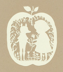 Red Riding Hood Papercut :) (Elsita (Elsa Mora)) Tags: white papercut paper cut red riding hood wolf story apple decorative art elsita elsa mora original one kind small tiny miniature craft characters girl mother nature plant herbal tea remedy lace looking design ooak