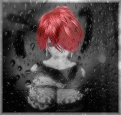 Raining (Yasmine Meads) Tags: red portrait bw selfportrait love glass loss rain female dark blackwhite pain alone heart emotion avatar profile avi sl thoughts secondlife redhair sorrow grief blend yasmine henrywadsworthlongfellow lostangel lostangelpose coloredgoldstaraward 1personaltoppic slscout