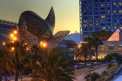 Fish at Night (WrldVoyagr) Tags: barcelona sculpture españa fish architecture spain 85mm gehry catalonia explore espana catalunya nikkor frankgehry hdr 3xp photomatix tonemapped tonemapping interestingness346 explore06jul2008
