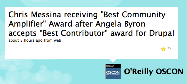 "Twitter / O'Reilly OSCON: Chris Messina receiving ""Be..."