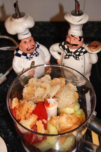 Salad Chefs Observe Gazpacho Ingredients