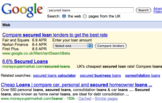Google Merchant Search Loans UK