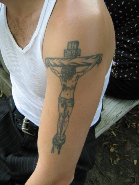 Crucifix Tattoo on my cousin Tim's arm