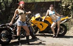 Biker Babes 2 (chrismaverick) Tags: woman sexy girl beauty tattoo graffiti chopper nikki photoshoot ninja models holly bikini blonde motorcycle denim biker brunette daisydukes clfsv