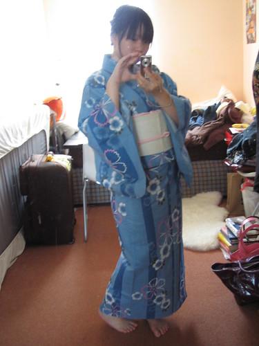 Stripey blue yukata