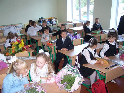 Joshua in his new classroom