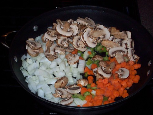carrot onion mushroom celery for pot pie