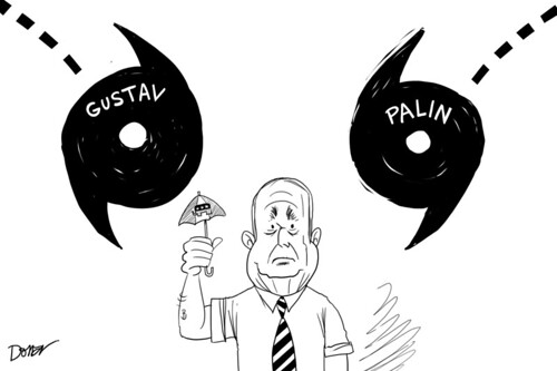 john mccain embraces for hurrican gustav and palin political cartoon