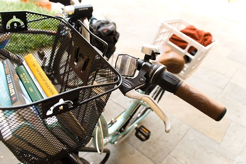 books in bike basket