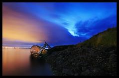 Weathered Old Boat (orvaratli) Tags: ocean old longexposure travel blue sea sky landscape boat iceland reykjavík icelandic supershot arcticphoto lpdamaged örvaratli orvaratli
