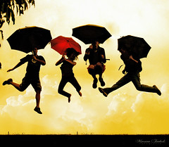 Antigravity Engineers! (Nika Fadul) Tags: red boys girl yellow four one three fly jump different free umbrellas ufu mnicafadul nikafadul