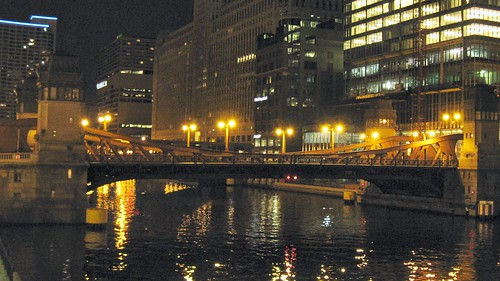 Night time along the Chicago River. Chicago Illinois. September 2008. by Eddie from Chicago