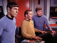 "Star Trek ""Big Three on Bridge"" (skookums 1) Tags: startrek classic television vintage ship space borg hollywood captain spock actress actor series klingon sciencefiction pioneers kirk skookums"