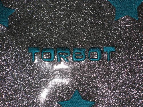 glitter vinyl bib detail