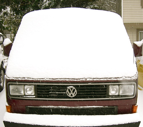 Snow Perfectly Placed On The Bumper