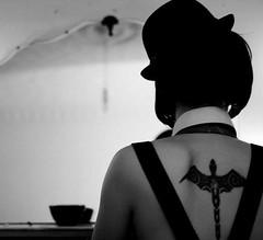 hes behind me (bebe.rascal) Tags: boy blackandwhite vintage back hats tattoos wig bebe billybofh monkeytwizzle