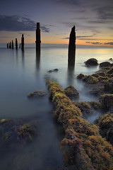 The old Pier (Garry - www.visionandimagination.com) Tags: longexposure blue red seascape green nature water grass sunrise landscape dawn pier moss oz australia brisbane bayside 5d aus sandgate exceptional moretonbay blueribbonwinner shorncliffe shorncliffepier anawesomeshot overtheexcellence wwwvisionandimaginationcom