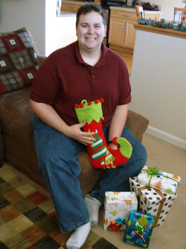 Ian with his Stocking & Presents