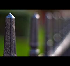 Railing-keh (Komatoes) Tags: door uk light grass fence 50mm nikon bokeh rail devon exeter f18 2008 railings alphington d40 nikond40 alphingtonroad