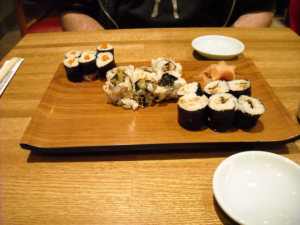gobo, unagi, and salmon skin maki