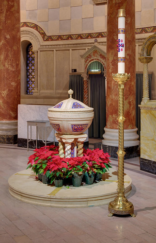 Cathedral Basilica of Saint Louis, in Saint Louis, Missouri, USA - baptismal font decorated for Christmas
